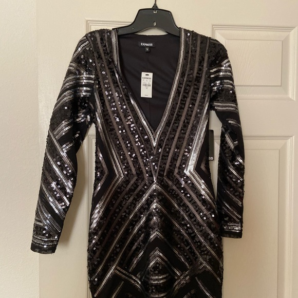 Express Dresses & Skirts - Express sequin mini party dress black NWT XS